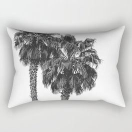 Dos Palmeras // Tropical Black and White Palm Tree Photography California Nature Ocean Vibes Rectangular Pillow
