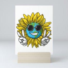 Planet Earth Sunflower Hippie Mini Art Print