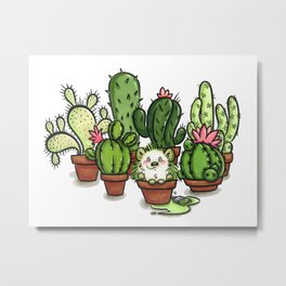 Green - Cactus and Hedgehog Metal Print