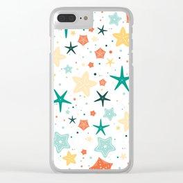 Seastars Pattern - Teal Clear iPhone Case