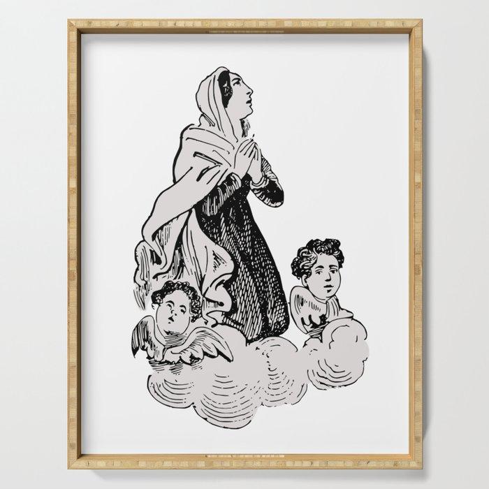 Vintage Illustration, Virgin Mary and Cherubs Serving Tray