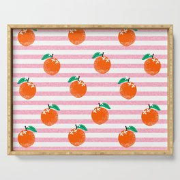 Orange fruit pattern with pink stripes fun pattern for boys or girls room Serving Tray