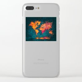 world map art series Clear iPhone Case