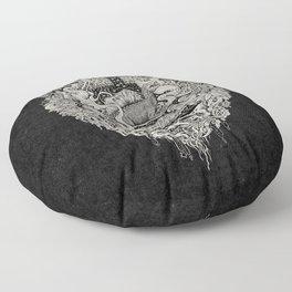 Sunken Temple of the Spinosaurus    Monochrome    Dinosaur Science Fiction Art Floor Pillow