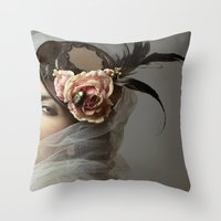 hat Throw Pillows featuring hat by Cunene