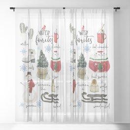 Cozy Winter Favorites Christmas Watercolor Sheer Curtain