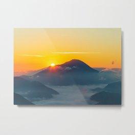 Sun peaking behind Uršlja gora, Slovenia Metal Print