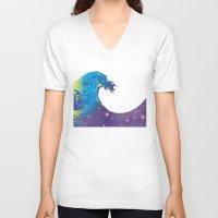 hokusai V-neck T-shirts featuring Hokusai Universe by FACTORIE
