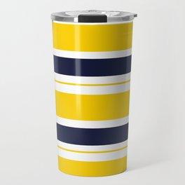 Yellow and Blue Horizontal Lines Stripes Travel Mug