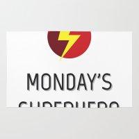 superhero Area & Throw Rugs featuring Monday's Superhero by flydesign