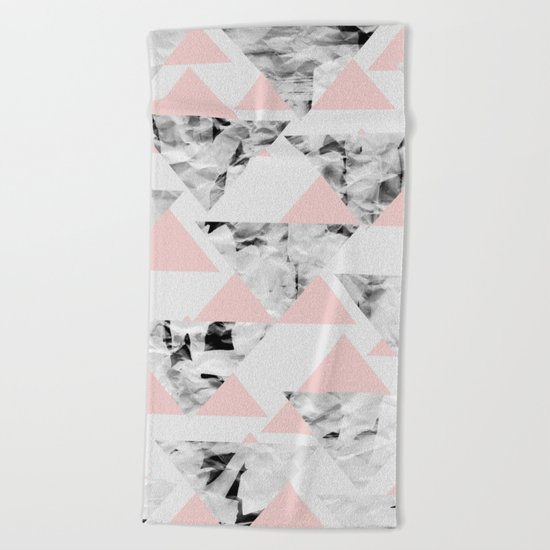 Pink Triangles Beach Towel