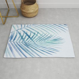 Coastal Palms Watercolor Rug