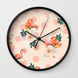 Flamingo Jazz #society6 #decor #pattern Wall Clock