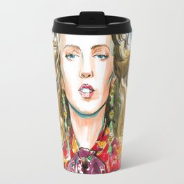 fashion #21. blonde girl in a red jacket with gold Travel Mug