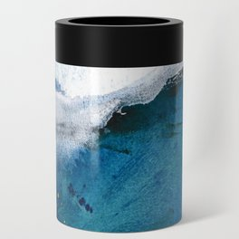 In the Surf: a vibrant minimal abstract painting in blues and gold Can Cooler