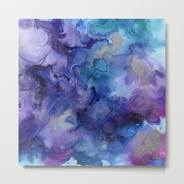 Abstract Watercolor and Ink Metal Print