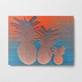 Vintage Copper Sunset Pineapples Metal Print