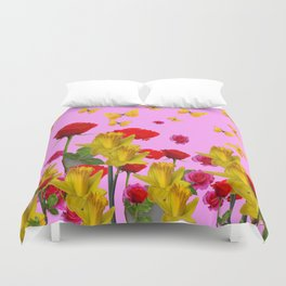 DECORATIVE YELLOW BUTTERFLIES, RED ROSES, DAFFODILS SPRING FLOWERS Duvet Cover