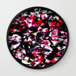 psychedelic geometric triangle polygon abstract pattern in red pink black Wall Clock