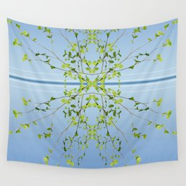 Birch on blue Wall Tapestry