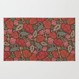 Red poppies and roses with golden keys on dark background Rug