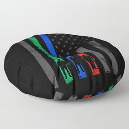 Thin Blue, Red, Green Line American Flag Floor Pillow