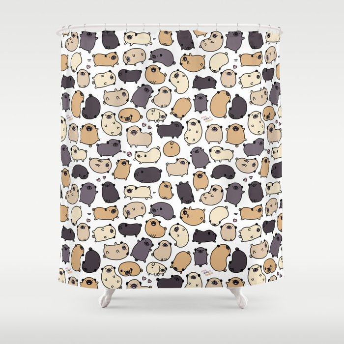 Pug Life Doodle Shower Curtain
