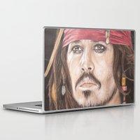 jack sparrow Laptop & iPad Skins featuring Captain Jack Sparrow by JadeJonesArt