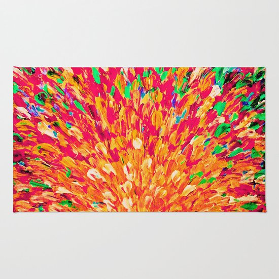 NEON SPLASH - WOW Intense Dash of Cheerful Color, Bold Water Waves Nature Lovers Modern Abstract  Rug