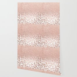 Trendy modern faux rose gold glitter ombre leopard pattern Wallpaper