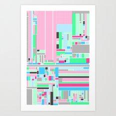 Pink, Blue & Green Art Print