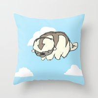 appa Throw Pillows featuring sky bison by maysillee
