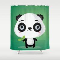 panda Shower Curtains featuring Panda by Maria Jose Da Luz