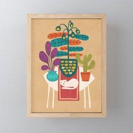 Indoor garden with cat Framed Mini Art Print