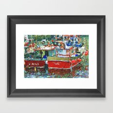 Fishing boats in a tranquil harbor Framed Art Print