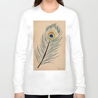 peacock feather Long Sleeve T-shirts featuring PEACOCK FEATHER by Joelle Poulos