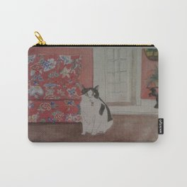 Cat with Floral Chair Carry-All Pouch