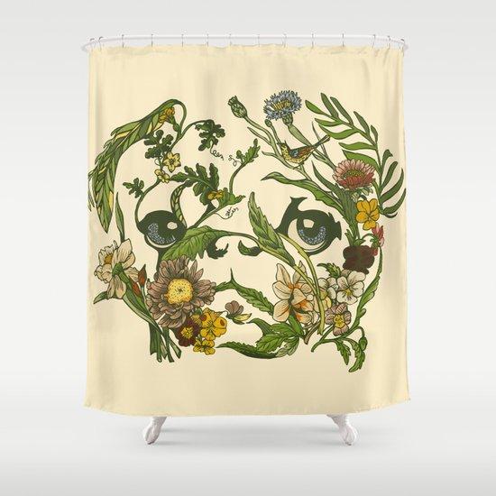 Botanical Pug Shower Curtain