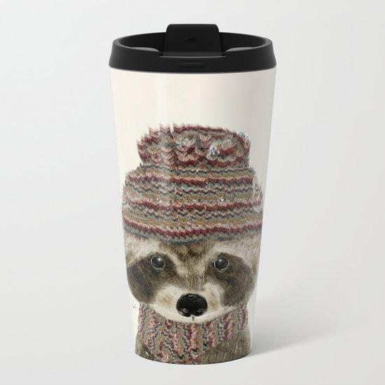 little indy raccoon Metal Travel Mug