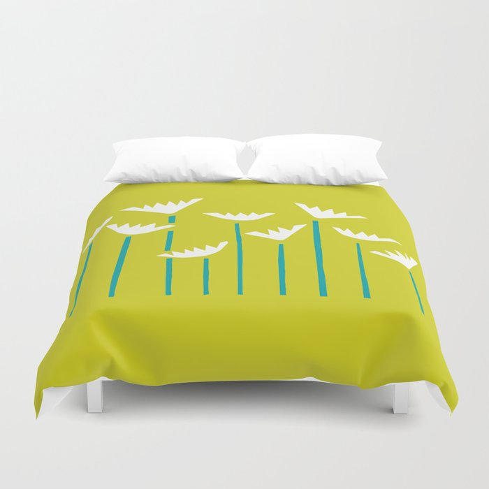 Chartreuse, Teal and White Tropical Plants Duvet Cover