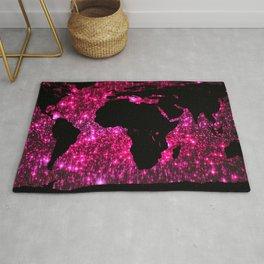 Pink Sparkle World Map Rug