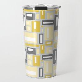 Simple Geometric Pattern in Yellow and Gray Travel Mug