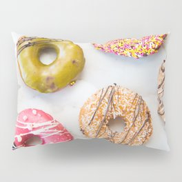 Colorful Donuts on Marble Pillow Sham