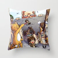 attack on titan Throw Pillows featuring Attack on Kitten - Attack on Titan by Cute-Loot
