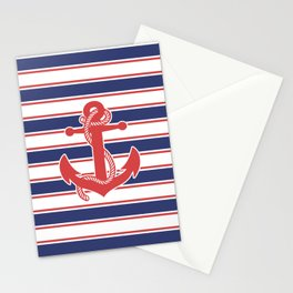 Sailor Stripes and Anchor Pattern 13 Stationery Cards