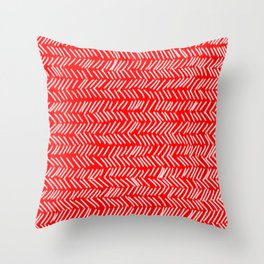 Scarlet Herringbone Lines Throw Pillow