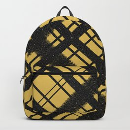 Black Glitter Plaid on Golden Yellow Graphic Design Pattern Backpack