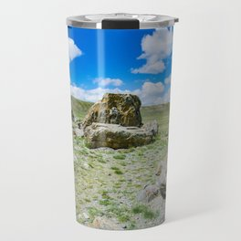 Tarkhatinsky megalithic complex. Steppe and blue mountains on the horizon. Altai Russia. Travel Mug