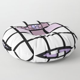 White, Pink, Violet, and Purple Blocks (squares) Lined in Black Floor Pillow