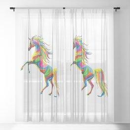 a colourful unicorn Sheer Curtain